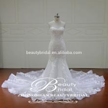 Vestido de boda del Applique del amor Vestido de novia sin mangas al por mayor chino de la sirena