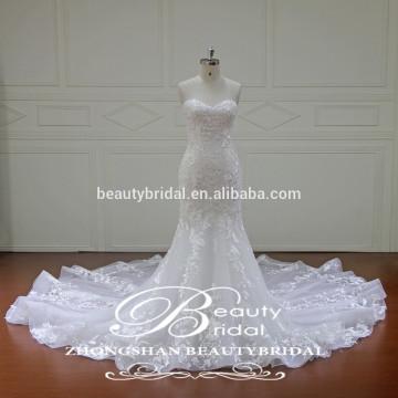 Sweetheart Applique vestido de casamento Vestido de noiva de sereia sem costura por atacado chinês
