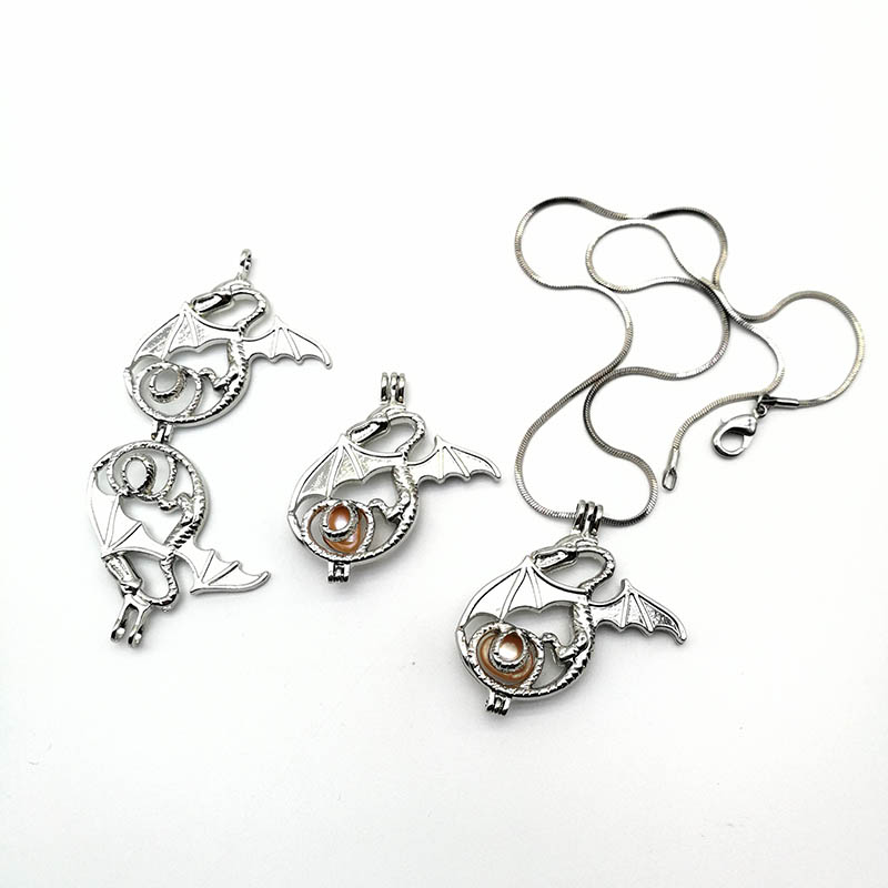 Oyster Dragon Lockets Pendant Necklace