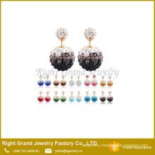 Rhinestone Double Crystal Disco Ball Shamballa Earring Studs
