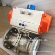 Pneumatic 2PC Stainless Steel Flanged Floating Ball Valve with 304L