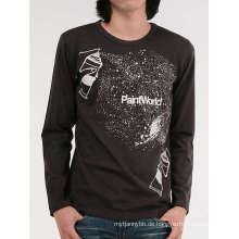 100% Baumwolle Großhandel Mode Benutzerdefinierte Langarm Männer T-Shirt