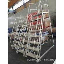 Movable Warehouse Fiberglass Platform Step Ladder with Wheels
