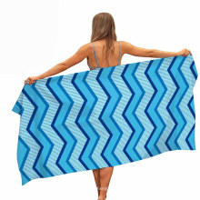 Sand Outdoor Travel Swim Blanket & 100% Polyester Quick Drying Customized Digital Printed Stripe Beach Towel in Stock