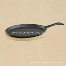 Pan de Sizzler de fajita de hierro fundido preconfigurado con certificado LFGB