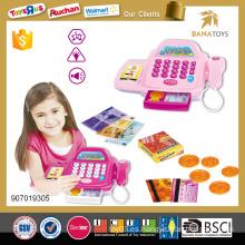 Los niños de plástico electrodomésticos caja registradora chica juguete