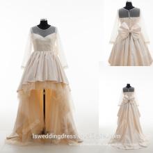 RP0168 2016Wholesale champán frente corto de espalda largo vestido de niña de arco perla niñas trapos de vestir de manga larga verdadera flor chica vestidos