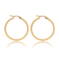 Femme Acier Inoxydable Twisted Round Circle Gold Hoop Boucle d'oreille