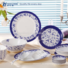 28pcs Großhandelsblaue Anstrich-Porzellan-feine Knochen-China-Essgeschirr-Satz