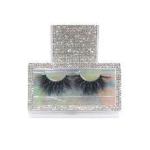 SL022F Hitomi custom eyelash packaging box mink eyelash wholesale price Fluffy real 25mm mink eyelashes