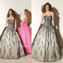 Ball Ball Sweep Train Black Dentelle et plume Sweetheart Corset Closure Robe Quinceanera Dressing