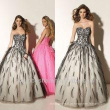 Ball Gown Sweep Train Black Lace And Feather Sweetheart Corset Encerramento Quinceanera Vestido Vestido