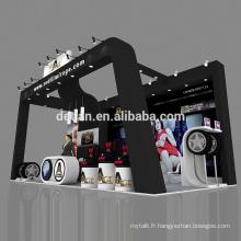 Detian offre l'exposition modulaire exposition conception de cabine de pneu enduit bois