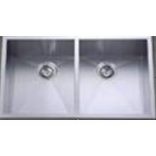 Hecho a mano de acero inoxidable dos Bowl fregadero de la cocina (Khd3320)