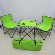 Acero al aire libre y mesa y silla plegables de tela