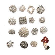 Wholesale 19mm Colorful Flower Rhinestone Metal Shank Buttons For Clothes