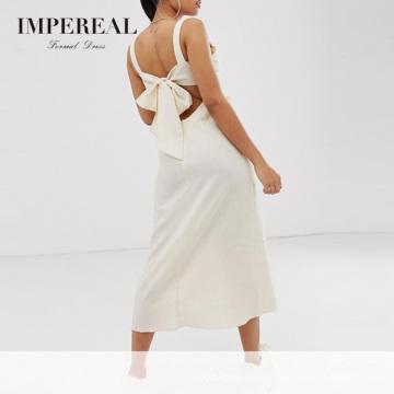 Sweetheart Neckline Knot Front Casual Linen Dress Women