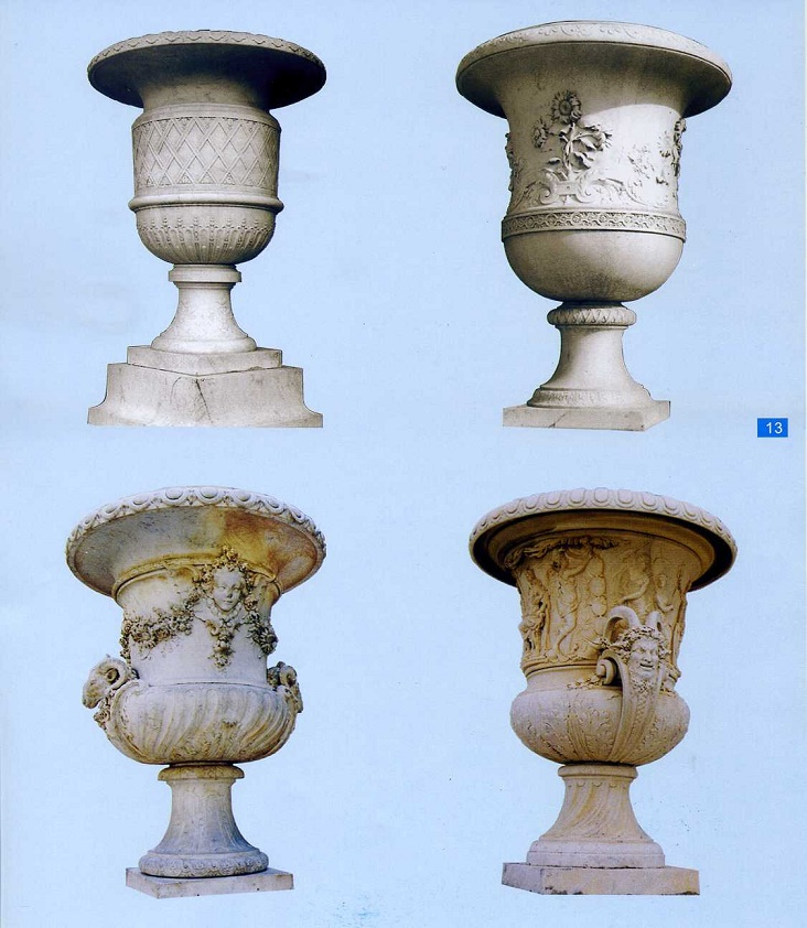 stone carved flowerpots
