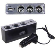 3-Wege-Multi-Auto Zigarettenanzünder Splitter leichter Ladegerät DC Power Adapter + USB