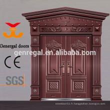 Portes d'entrée en fonte d'aluminium de style chinois de luxe