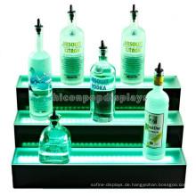 Beleuchteter Ausstellungsstand für Champagner-Weinflasche, kundenspezifische Weinstange 3-stufige Led-Counter-Display