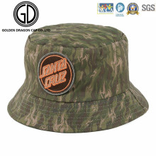 Top Quality Green Camo Sun Bucket Hat with Embroidery Badge