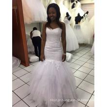 2017 New China Custom Made Satin Mermaid Wedding Dresses Pure White