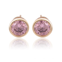 91989 Xuping single stone gold plated cubic zirconia simple designed stud earrings