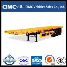 Semi-reboque de contentor de plataforma plana Cimc 40FT de 3 eixos na venda quente