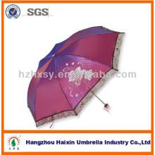 Lady mode Solid Color parapluies avec large dentelle noire