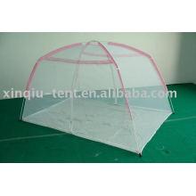pink mesh children bed tent