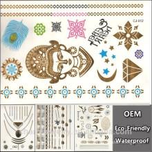 OEM Spécial Or Argent Tatouages Bijoux Inspiré Tatouage Imperméable Tatouage Feather Stickers Glitter Totem Tats CJ012