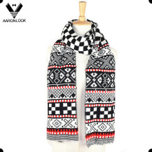 Winter Multicolor Jacquard Geometric Pattern Scarf