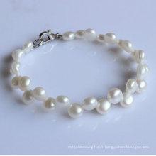 Bracelet à perles d'eau douce à 2 lignes de fil blanc (EB1521-1)