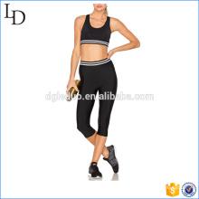 Pantalones de yoga apretados de malla negra y conjuntos de sujetador ajustados mono de yoga