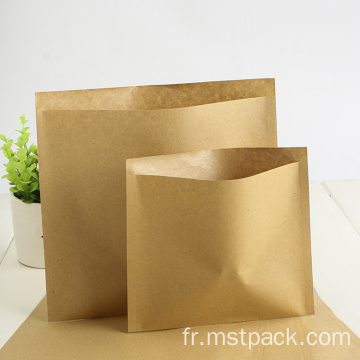 Sac scellé plat biodégradable 3 en papier kraft