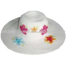 Chapeau de paille en papier à la mode pour dames avec patch de fleurs wrok