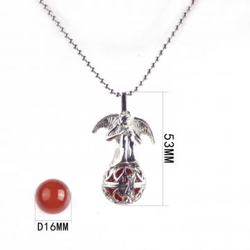 New Women Silver Plated Angel Wing Carnelian Stone Chain Pendant Necklace