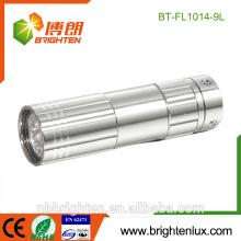 Vente en gros Super qualité Aluminium Matal Mini Led Torch Taille de poche Small 9 Led à bas prix lampe de poche la plus petite avec un porte-clés