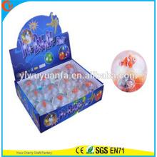 Juguete de alta calidad de juguete de goma 65 mm 65 mm clown de pescado intermitente Light-up Bouncy bola