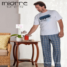 Miorre hombres pijama de algodón manga corta pijamas conjunto
