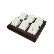 Customized White Leather Jewelry Holder Storage Tray for 6 Pendants