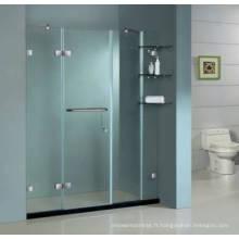 Porte de douche simple sans cadre en verre de sécurité trempé Hg-474