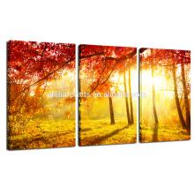 Bosque de otoño Imagen para la decoración de la pared / Paisaje de la puesta del sol Impresión de la foto en la lona / decoración casera Arte de la pared natural