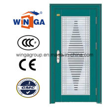 Decorative Designs Security Metal Steel Glass Door (W-GD-07)