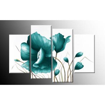 Home Decor Modern Wall Art Blue Floral Decor Flower Oil Painting