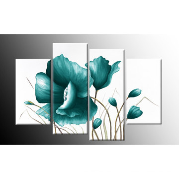 Домашний декор Современное искусство настенной живописи Синее цветочное декоративное масло