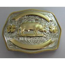 12 Animal 3D liga de ouro e fivela de cinto de níquel (PM-002)