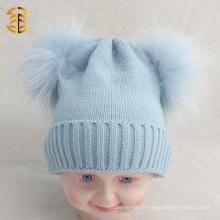 2017 Hot selling cheap funny winter pom pom beanie chapeau enfant avec fourrure