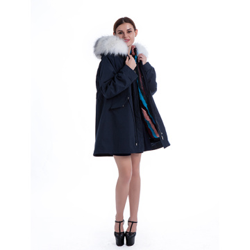 Fashionable White Plush krage Parker coat